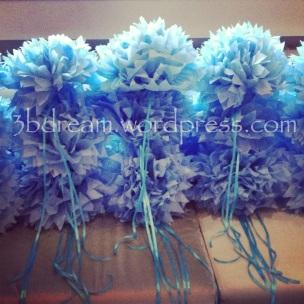 pompom çiçek sandalye süsleme tissue paper